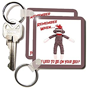3dRose LLC 8 x 8 x 0.25 Sock Monkey - Key Chains, set of 4 (kc_13474_2)