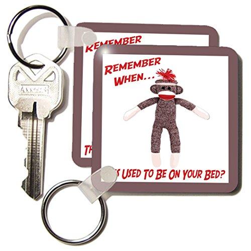 3dRose LLC 8 x 8 x 0.25 Sock Monkey - Key Chains, set of 4 (kc_13474_2)