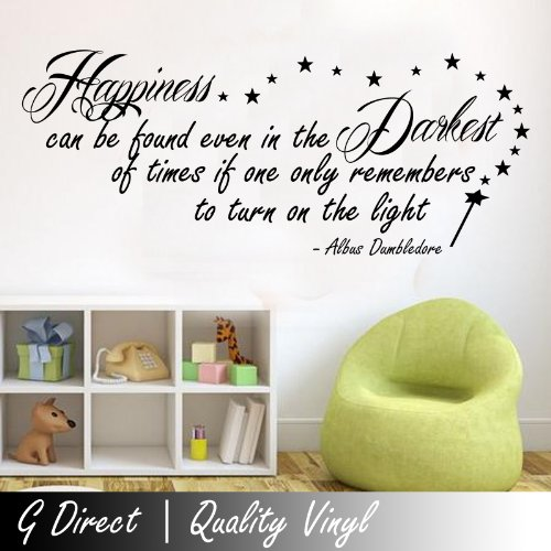 Harry Potter Happiness Can Be Found Dumbledore Inspirational Wall Sticker Quote 100X55 front-702343