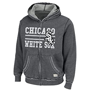 MLB Chicago White Sox Hooded Fleece Jacket, Washed Charcoal Heather by Majestic