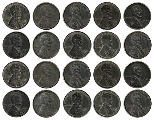 1943-various-mint-marks-count-of-20-genuine-world-war-ii-wwii-steel-pennies-p-d-s-mint-marks-all-gra