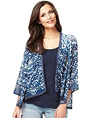 Indigo Collection Butterfly Print Cover-Up Top