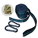 Adjustable Heavy Duty Ultralight Hammock Tree Straps Set Daisy Strap 1300LB with 15 Loops 2 Carabiners for Camping,Hiking and Outdoor Activity, black green