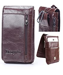 iPhone 7 Plus Belt Clip Pouch,Genuine Leather Vertical Cellphone Holster Waist/Belt Bags for Men Galaxy Note 3 case Men's Purse Carrying case for iPhone 6 /6s Plus S5 S6 Edge LG G4/G3+Keychain-Brown