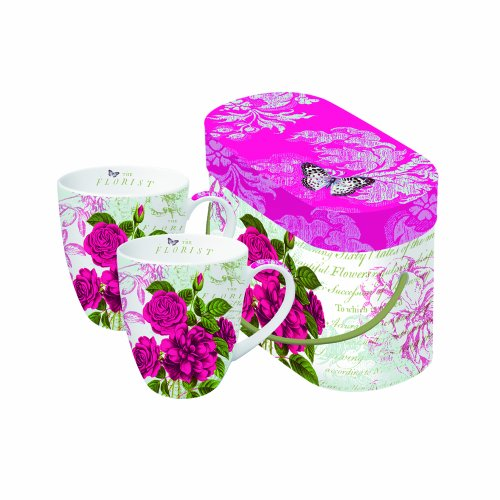 Paperproducts Design 602224 Gift Box Porcelain Mugs, 14-Ounce, Rozier Vintage Roses, Set Of 2