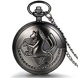 JewelryWe Vintage Fullmetal Alchemist Edward Elric's Pocket Watch Black with 31.9 Inches Chain