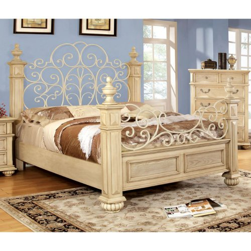 Furniture Of America Furniture Of America Belfast Floral Poster Bed, Antigue White, Wood & Metal, Queen front-578985