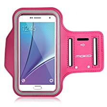 buy Galaxy S7 / S7 Edge Armband, Moko Sports Armband For Samsung Galaxy S7 / S7 Edge / Note 5 / S6 Edge+, Key Holder & Card Slot, Sweat-Proof, Magenta (Compatible With Cellphones Up To 5.7 Inch)
