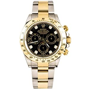 Rolex 40mm Stainless Steel & 18K Gold Daytona Model 116523 Black Diamond Dial Inner Bezel Engraving Model