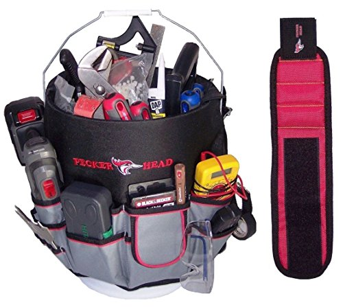 Bucket Tool Organizer - Caddy with Bonus Magnetic Wristband for holding nails-screws-nuts and bolts. Made of tough 600D water resistant polyester with strong webbings. Fits most 5 gallon buckets (Plumbers Tool Pouch compare prices)