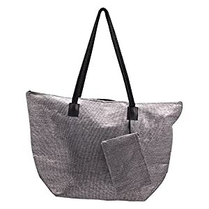 Premium Connection 290-WSSB Roberto Amee Silver Woven Straw Tote Bag