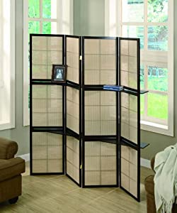 Room Divider Folding Screen in Cappuccino Finish