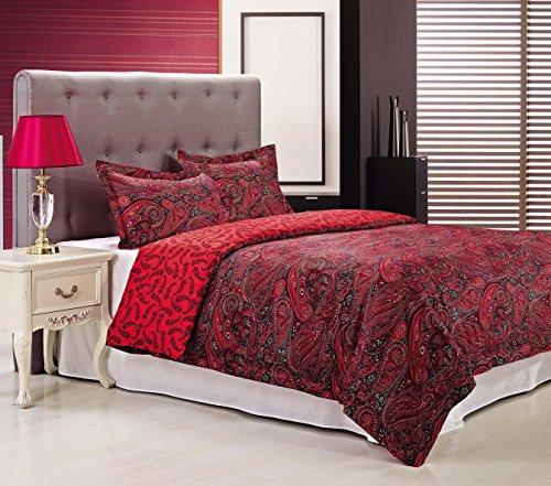Impressions by Luxor Treasures 3-teilig, King/California King 100 Prozent Baumwolle mit einer Fadenzahl von 300, Redwood Bettbezug-Set, Rot hier kaufen