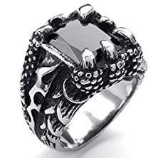 buy Mens Rings Stainless Steel Biker Punk Gothic Dragon Claw Cz Ring Black Silver Size 8 By Aienid