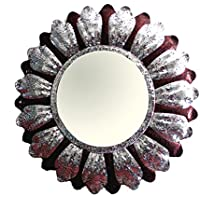 The Bath Boutique Maroon Mosaic Handcrafted Glass Wall Mirror (BBM 00001)