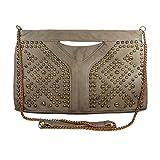 Khaki Taupe Faux Leather Envelope Bag, Clutch, Handbag, Messenger Bag, Cross Body Bag