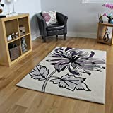 Bombay Bold Purple & Cream Floral Motif Area Mats 8919 - 3 Sizes Available