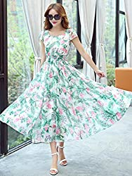Mahadev Enterprise Women's U-neck elastic girdle 360 big swing Dress ( Semi Stitched )