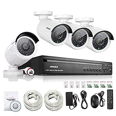 [1.0 Megapixel] ANNKE® 4CH 720P PoE NVR HD Security Camera System with 4 720P 1.0MP Weatherproof Superior Night Vision HD IP Cameras (Power Over Ethernet, Scan QR Code Quick Remote Access NO HDD)