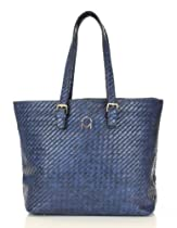 Noble Mount Weave Texture Enchanted Tote Handbag - Dark Blue