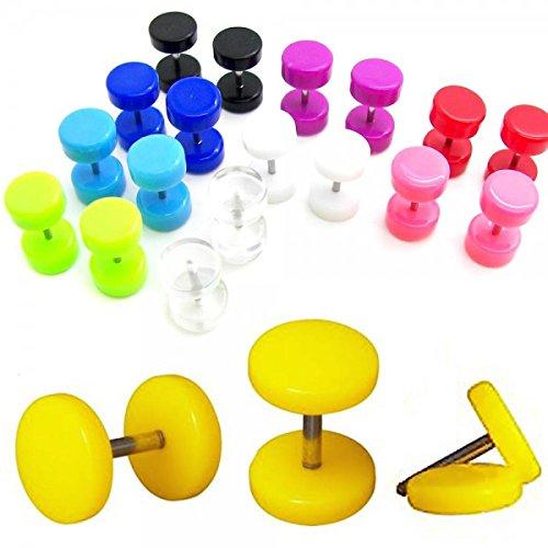 Set di 10 Paia Finto Plugs Falso Fakeplug Tunnel Piercing Orecchini 6 mm diversi colori 20 pezzi