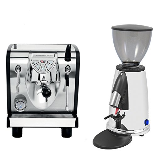 Nuova Simonelli Musica Black Plumbed Free Installation Programmable Espresso Coffe Machine & Macap M2DC83 Programmable Chrome Doser Grinder
