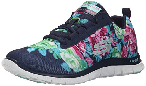 Skechers (SKEES) - Flex Appeal- Wildflowers, Scarpa Tecnica da donna, blu (nvmt), 38