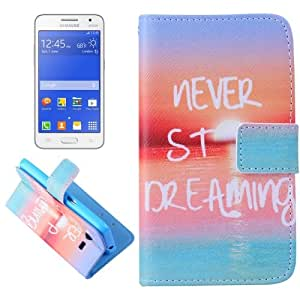 Crazy4Gadget NEVER STOP DREAMING Pattern Cross Texturt Flip Leather Case with Holder & Card Slots & Wallet for Samsung Galaxy Core 2 / G355