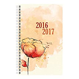 Brownline 2017 Daily Academic Planner, Aug-July, Poly Cover,  8 x 5 inches, Watercolor (CA201PT.ASX-17)