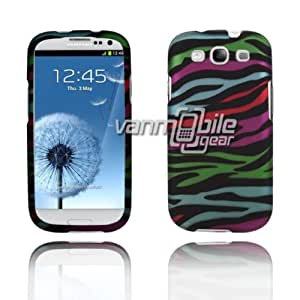 VMG For Samsung Galaxy S III S3 i9300 i747 (3rd Gen) Cell Phone Graphic Image Design Faceplate Hard Case Cover - Black Multi-Colored Rainbow Stripes