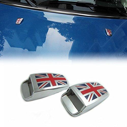 MINGLI Auto Windshield Washer Spray Nozzle Cover For Mini Cooper Wiper Spray Caps with Union Jack UK Flag Logo (Windshield Washer Nozzle Cover compare prices)