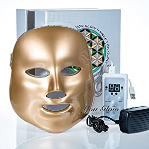 LED Photon Therapy Light Treatment Facial Skin Care Mask Red Green Blue Phototherapy - Gold