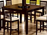Counter Height Dining Table with Lazy Susan Cappuccino Finish