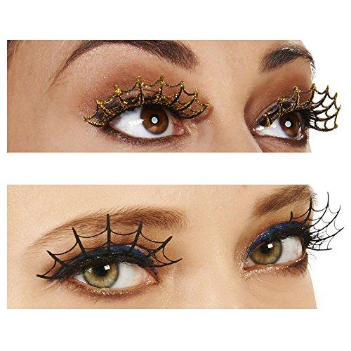 [Gold Spiderweb Eyelashes and Black Eyelashes Bundle Set] (Spider Web Eye Makeup)