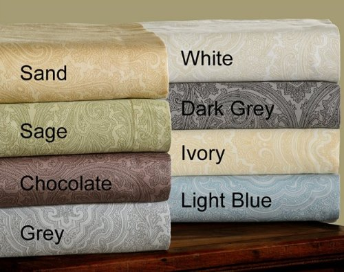 Hc™ 8 Colors- 600 Thread Count Cotton Rich Italian Paisley Duvet Cover Set -King / Cal King-Chocolate front-1019507