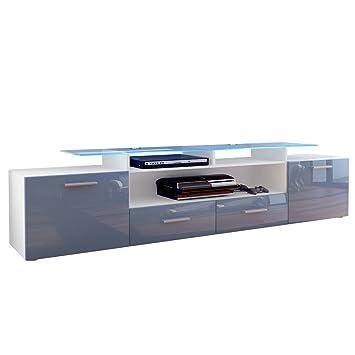 Meuble TV bas Almada V2 en Blanc mat Gris laqué haute brillance