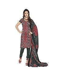 Sonal Trendz Red Cotton Printed Bandhani Dress Material Suit