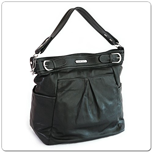 VANCHI Leather London Hipster, Luxury Baby Diaper Bag - Handbag, Black