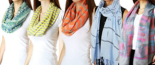 Trendy And Elegant Fashion Scarf Combo Bundle Pack For Women (5 Pc Bundle Pack)