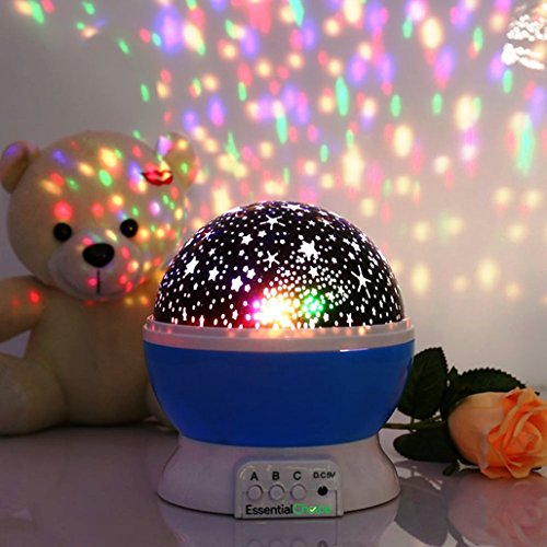 Essential Choice *Buy 2 Get 1 FREE* - Galaxy Constellation Night Light - 4 Bright Colours with 360 Degree Moon Star Projection and Rotation - Kids Baby Bedroom and Nursery - Great Gift Idea