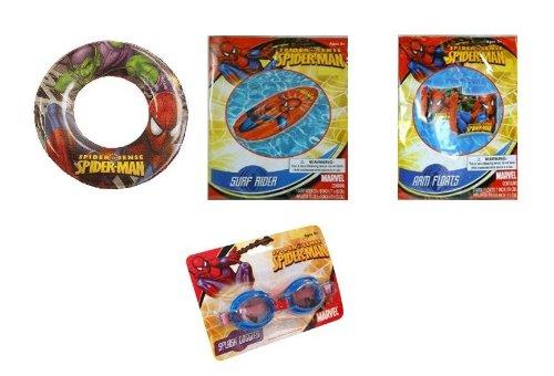 Spiderman Summer Fun Pool Set - Goggles, Arm Floats, Surf Rider Swim Raft & Swim Ring