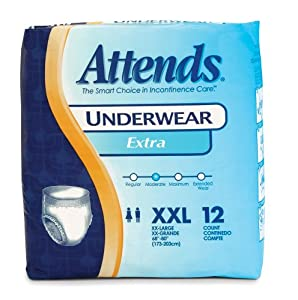 Attends Incontinence Care Underwear for Adults, Extra, XXL, 12 Count (Pack of 4) by Attends
