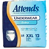 Attends Incontinence Care Underwear for Adults, Extra, XXL, 12 Count (Pack of 4)