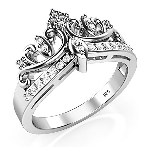 Sz 7 Sterling Silver Cubic Zirconia Princess Crown Tiara CZ Band Ring