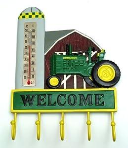 John Deere Thermometer Welcome Sign Plaque Hooks Hanger