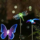 e-Joy ® 1 package of Solar Powered Outdoor Hummingbird, Butterfly & Dragonfly Solar Garden Stake Light--with Chameleon Multi-color Changing LED Light--Great Kits for Garden Decorations, and Flower Beds, 1 of Each, 3pc in total