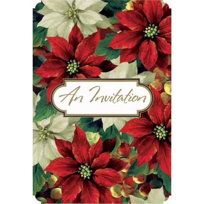 Regal Poinsettia Value Pack Invitations 20ct - 1