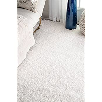 "nuLOOM Soft & Plush Nursery Solid Kids Shag Area Rug, 53"" x 76"", Snow White"