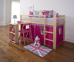 Cabin Bed & Mattress with Desk in Pine PINK Tent + mattress