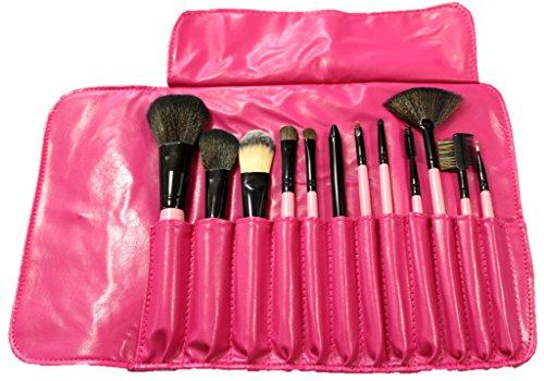 メイクブラシブラシ 化粧ブラシ セット 収納ケース付き 12本 ピンク 030